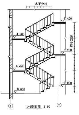 首层顶层楼梯画法_根据楼梯的1—1剖面图,及二层楼梯平面图,试完成楼梯的底层楼梯平面图