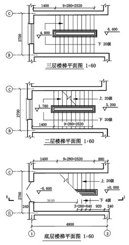 楼梯平面图; cad楼梯平面图; 钢结构楼梯剖面图